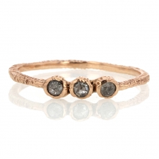 Triple 14k Rose Gold Brownish Grey Diamond Ring Image
