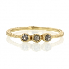 Triple Greyish Brown Diamond Yellow Gold Ring Image