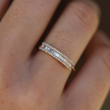 Gold Diamond Baguette Pave Bar Ring Image