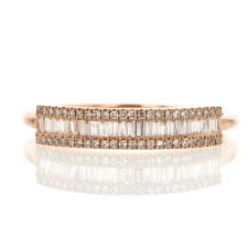Rose Gold Diamond Baguette Pave Ring Image