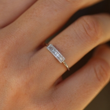 White Gold Diamond Baguette Bar Ring Image