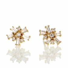 Yellow Gold Baguette Diamond Stud Earrings Image