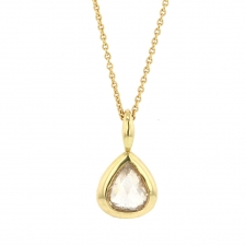 Rose Cut Pear Diamond Gold Necklace Image