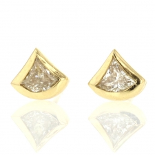 Fan Shaped Diamond 18k Gold Stud Earrings Image
