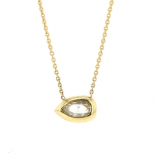 Long Pear Diamond 18k Gold Necklace Image