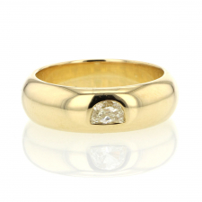 Half Moon Diamond 18k Gold Band Ring Image