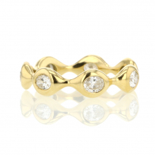 Oval Diamond Eternity 18k Gold Band Ring