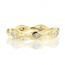Marquise Shaped Diamond Eternity 18k Gold Ring Image