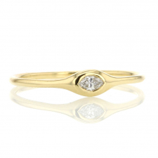 Marquise Shaped Diamond 18k Gold Stacking Ring Image