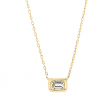 Emerald Cut Diamond Gold Necklace Image