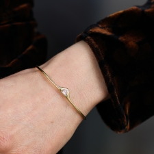 Rose Cut Diamond 18k Gold Cuff Bracelet Image