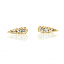 Long 18k Gold Pave Diamond Stud Earrings Image