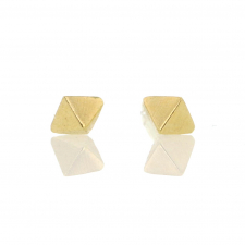 Tiny Double Pointed Stud 18k Gold Earrings Image