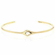 Pear Shaped Rose Cut Diamond 18k Gold Cuff Bracelet Image