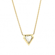 Rose Cut White Diamond Shield Necklace Image