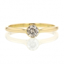 Champagne Diamond Solitaire 18k Yellow Gold Ring Image