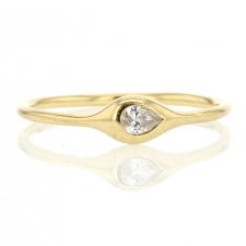 Pear Diamond 18k Yellow Gold Stack Ring Image
