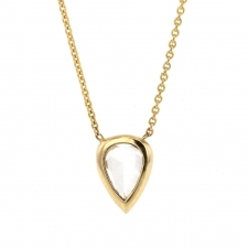 Pear Shaped White Diamond Gold Necklace Image