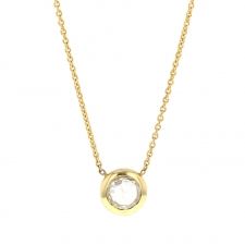 Round Rose Cut White Diamond Gold Necklace Image