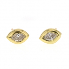 18k Gold Marquise White Diamond Stud Earrings Image