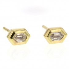 Small Double Bullet Diamond Stud Earrings Image