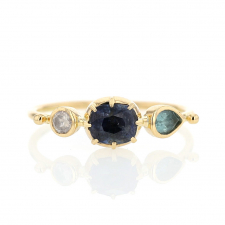 Blue Sapphire, Blue Tourmaline and Diamond Band Ring Image