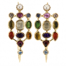 Large Poissardes Multi Gem Hoop Earrings Image