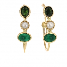 Emerald, Tourmaline and Pearl Hoop Earrings Image