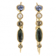 Sapphire, Pearl and Tourmaline Hoop Earrings Image