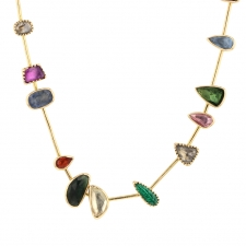 Gemstone Gold Collar Necklace Image