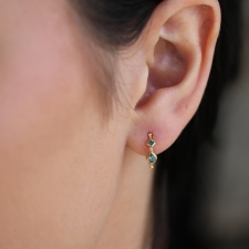 Anneaux Mixed Blue Tourmaline and Emerald Simple Hoops