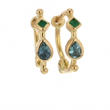 Anneaux Mixed Blue Tourmaline and Emerald Simple Hoops Image