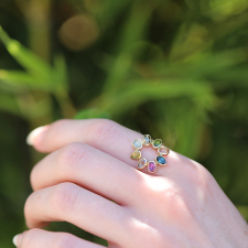 Multi-Color Gemstone Circle Ring Image