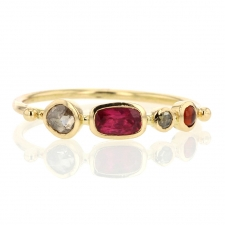 Hessonite Garnet, Spinel and Diamond Simple Ring Image