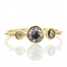 Moonstone and Diamond 18k Gold Simple Ring Image