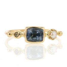 Blue Sapphire, Pearl and Diamond Simple Ring Image