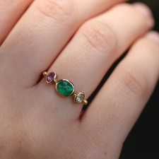 Emerald, Spinel and White Sapphire Simple Ring Image