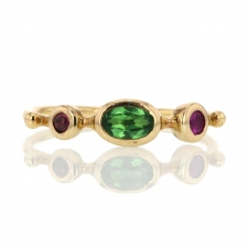 Garnet Tsavorite and Spinel Simple Band Ring Image