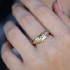 Diamond Satin Finish Gold Arched Ring Image