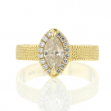 Marquis Diamond with Diamond Halo Engraved 18k Gold Ring Image