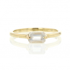14k Gold Small Rectangular Moonstone Ring Image
