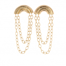 Curved Engraved Double 14k Gold Chain Earrings Image