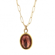 Peach Tourmaline Gold Necklace Image