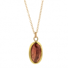 Large Peach Tourmaline Gold Necklace