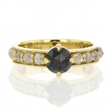 Black Rose Cut Diamond Ring with Grey Diamond Band Image