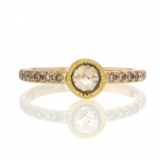 Rose Cut Diamond Champagne Diamond Ring