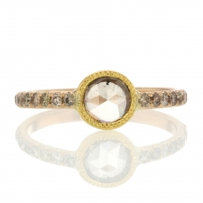 Champagne Diamond Gold Ring with Pave Image