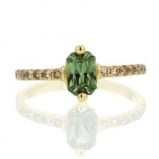 Green Sapphire and Champagne Diamond Ring Image