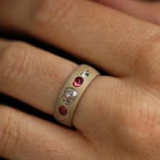Sandblasted Gold Diamond and Pink Sapphire Ring Image