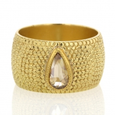 Pear Champagne Diamond on Cigar Band Ring Image